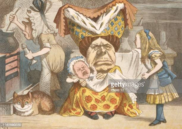 Illustration by Sir John Tenniel watercolour by Gertrude Thomson The Nursery Alice by Lewis Carroll London MacMilllan 1889 Alice and the Duchess