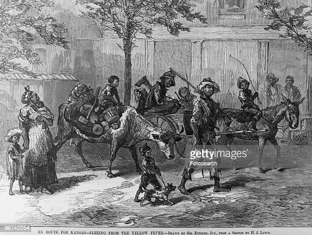 Illustration by Sol Eytinge with the caption 'En Route For Kansas Fleeing From The Yellow Fever' taken from Harper's Weekly depicting black people...