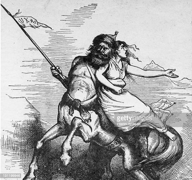 Illustration by Thomas Nast related to the oppressive political situation in Russia 1879 Titled 'The Russian Cossack Carrying Off The Bride Of...