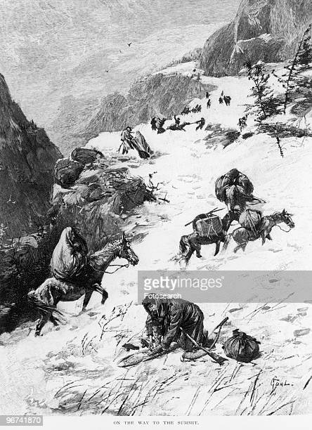 Illustration captioned 'On The Way To The Summit' depicting the Donner Party a group of Californiabound American emigrants caught up in the...