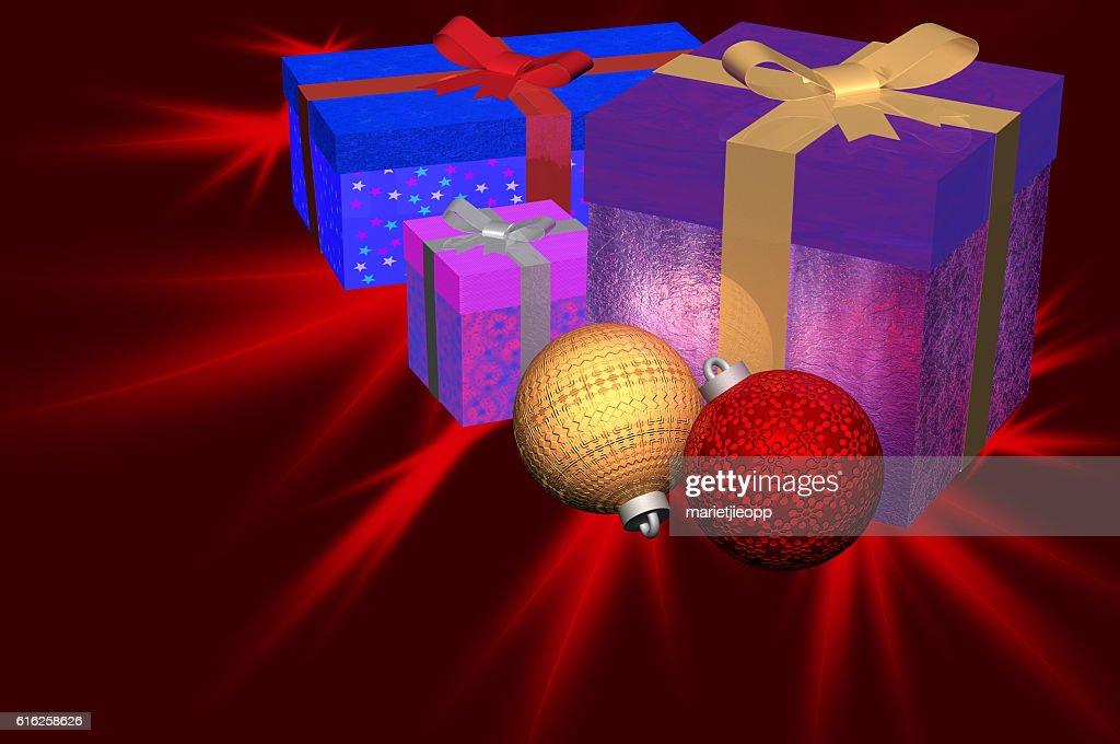 3D Illustration: Christmas gifts plus ornaments : Foto de stock