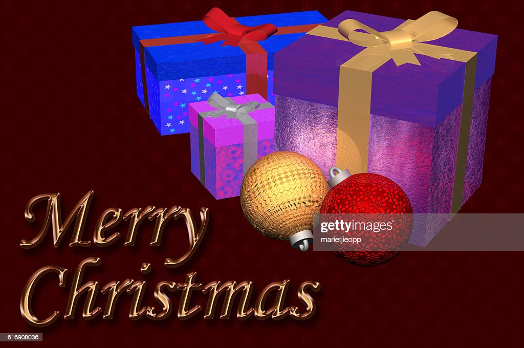 3D Illustration: Christmas gifts plus ornaments : Stock Photo
