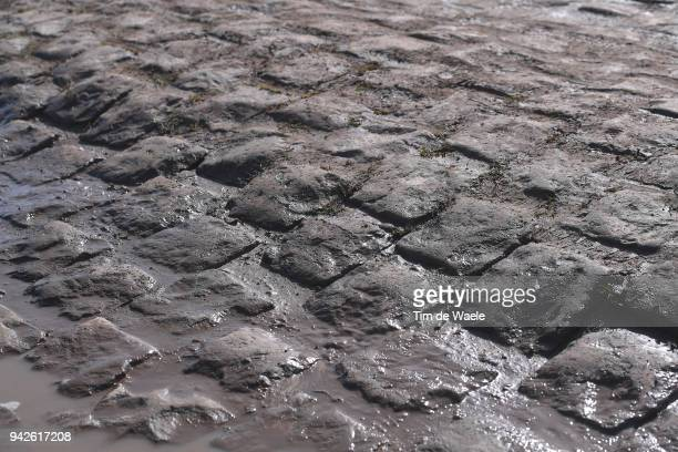 Illustration / Cobbles / Pave / Mud / during training of 116th Paris to Roubaix 2018 on April 6, 2018 in Arenberg, France.
