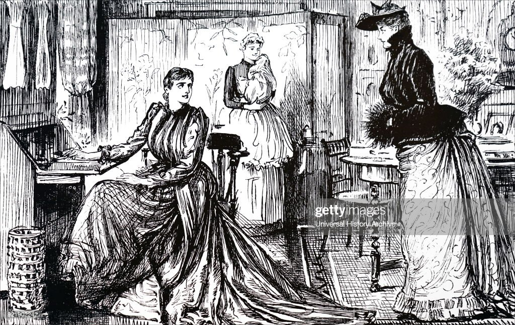 Illustration commenting on university education for women. Illustrated by George du Maurier (1834-1896) a Franco-British cartoonist and author. Dated 19th century.