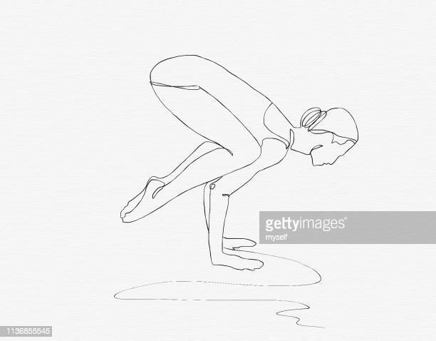illustration. continuous line ink drawing. sport woman engaged in yoga on white background - イラスト画法 ストックフォトと画像
