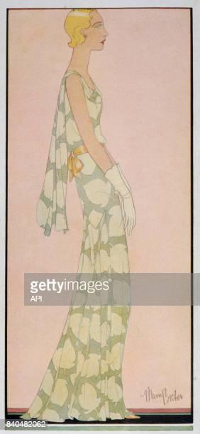 Illustration de 1931 présentant une femme en robe longue