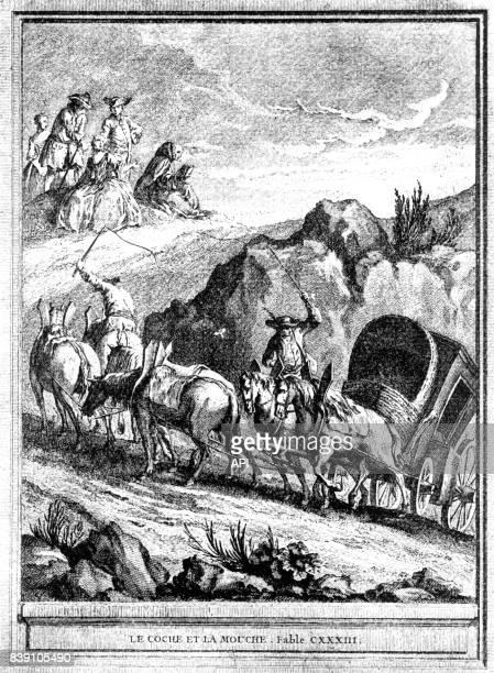 Illustration de la fable de Jean de la Fontaine le 'Coche et la Mouche' gravure de JeanBaptiste Oudry réalisée au XVIIIè siècle