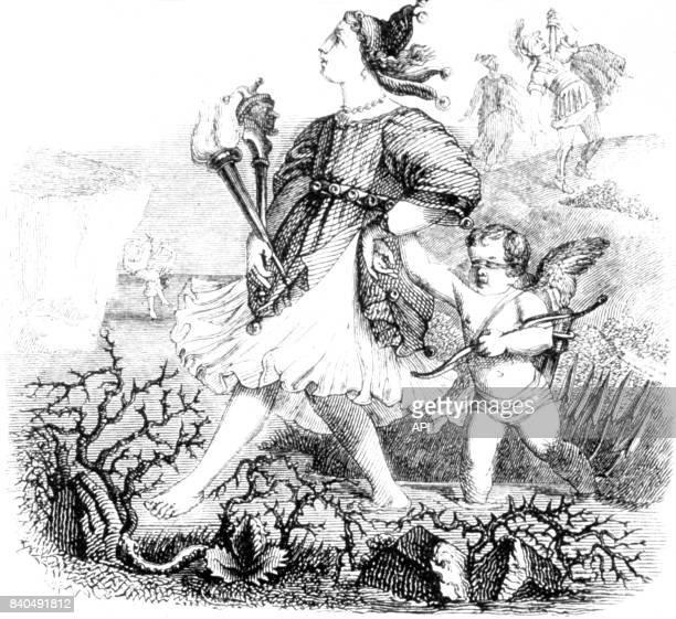 Illustration de la fable 'L'Amour et la Folie' de Jean de La Fontaine