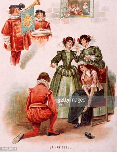 Illustration de la scène de la pantoufle de 'Cendrillon'