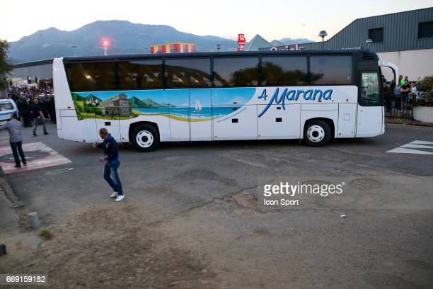 Illustration departure of the bus of the players of lyon during the Ligue 1 match between SC Bastia and Olympique Lyonnais Lyon at Stade Armand...