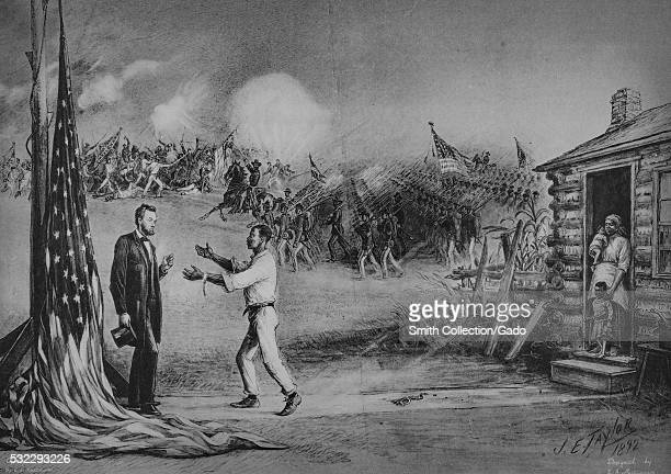 Illustration depicting a a slave with shackles on the ground behind him his family looking on appealing to Abraham Lincoln with a Civil War battle...