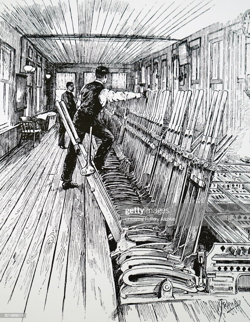 Illustration depicting a bank of interlocking levers in a signal box. Dated 19th century.