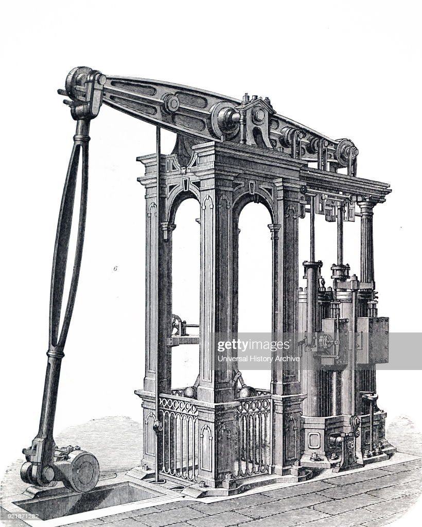 Illustration depicting a beam engine with compound cylinders. Dated 19th century.