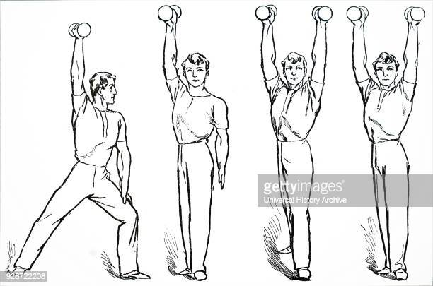 Illustration depicting a boy doing dumbbell exercises. A dumbbell is a type of free weight which is used in weight training. Dated 20th century.