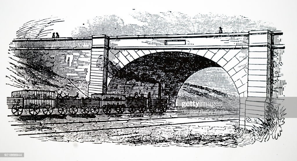 Illustration depicting a cattle train on the Liverpool and Manchester Railway. Dated 19th century.