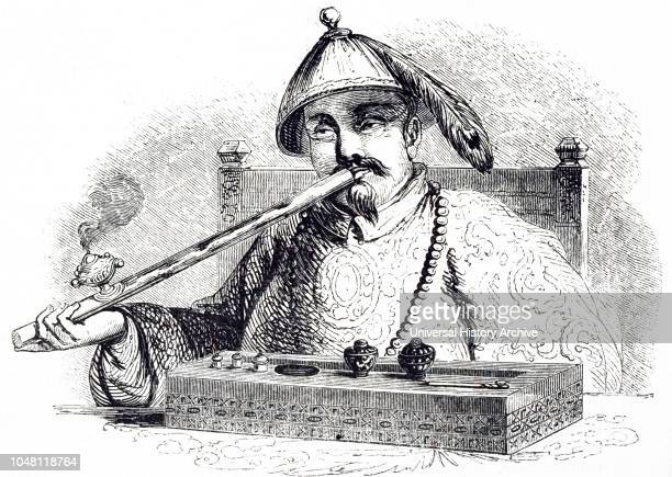 Illustration depicting a Chinese man smoking opium 1852 Imports of opium into China stood at 200 chests annually in 1729 when the first antiopium...