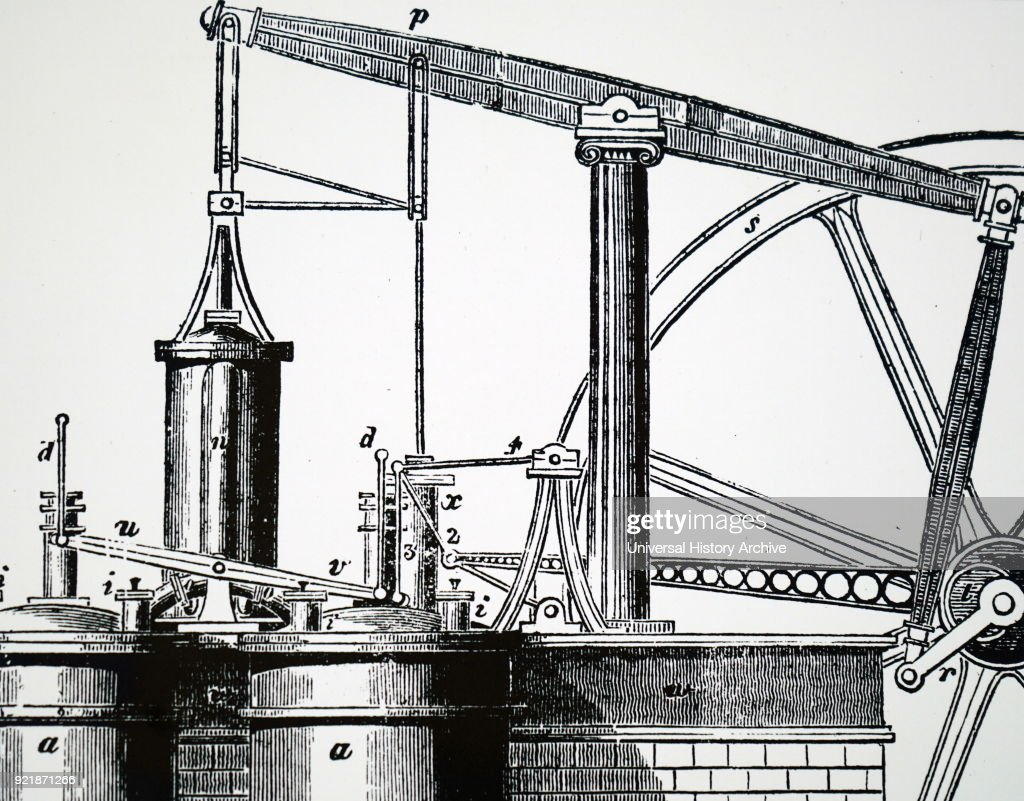 Illustration depicting a closed-cycle heat engine with regenerator. Dated 19th century.
