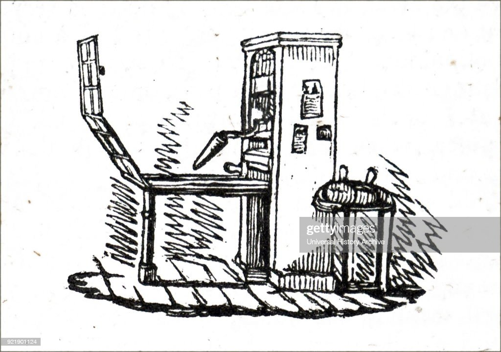Illustration depicting a common type of printing press. Dated 19th century.