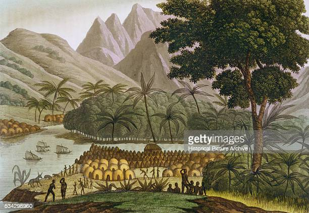 Illustration Depicting a Congolese Village and Trading Post