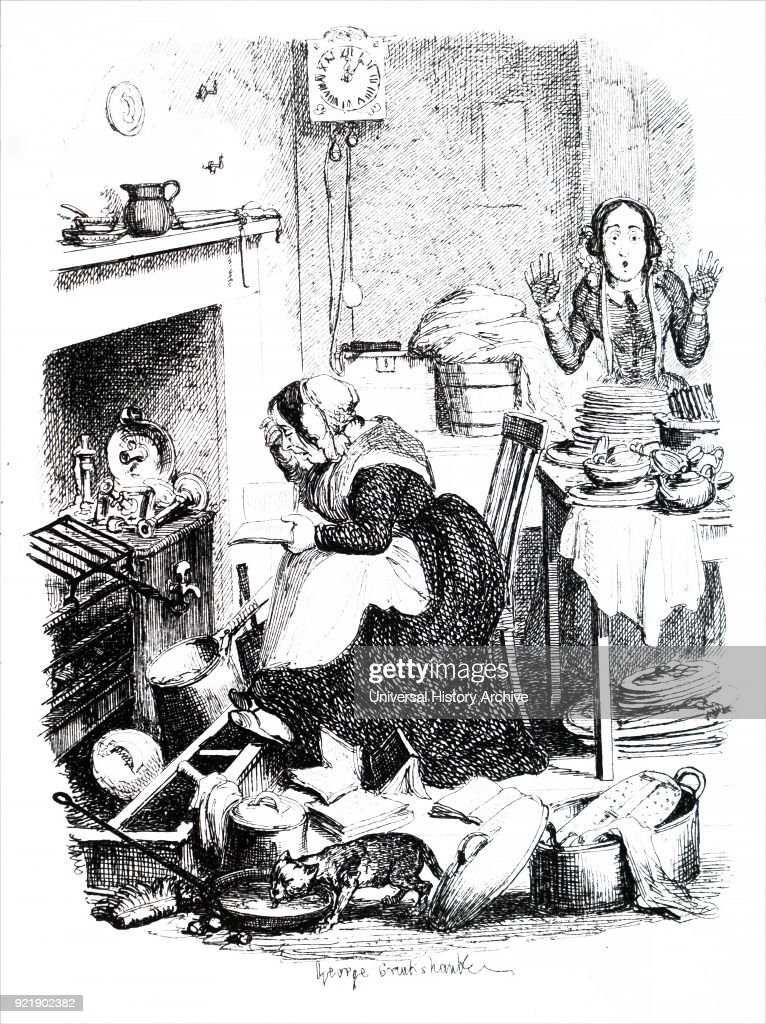 Illustration depicting a cook engrossed in a romantic novel. George Cruikshank (1792-1878) a British caricaturist and book illustrator. Dated 19th century.