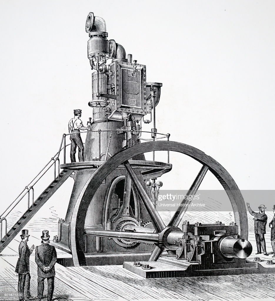Illustration depicting a direct action vertical steam engine with flywheel shaft near floor level. Dated 19th century.