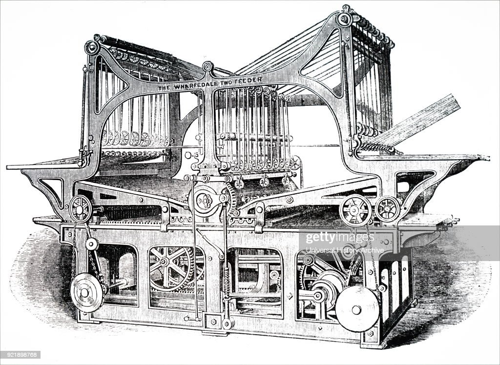 Illustration depicting a double-feed printing machine using stereo plates, and capable of high-speed operation. Dated 19th century.