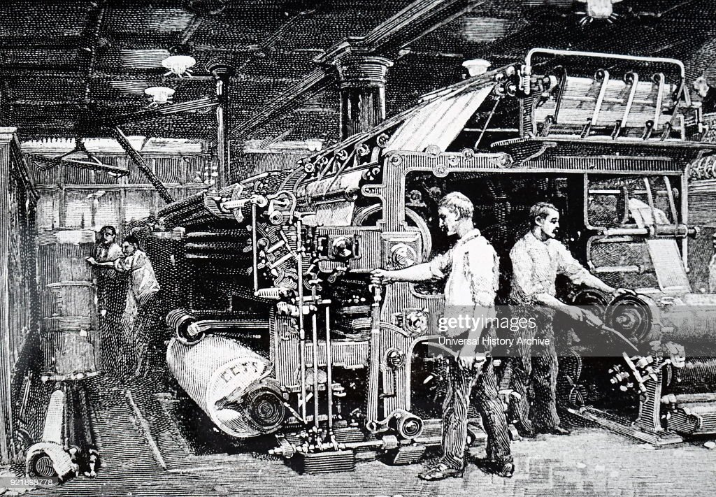 A double-feed printing machine. : News Photo