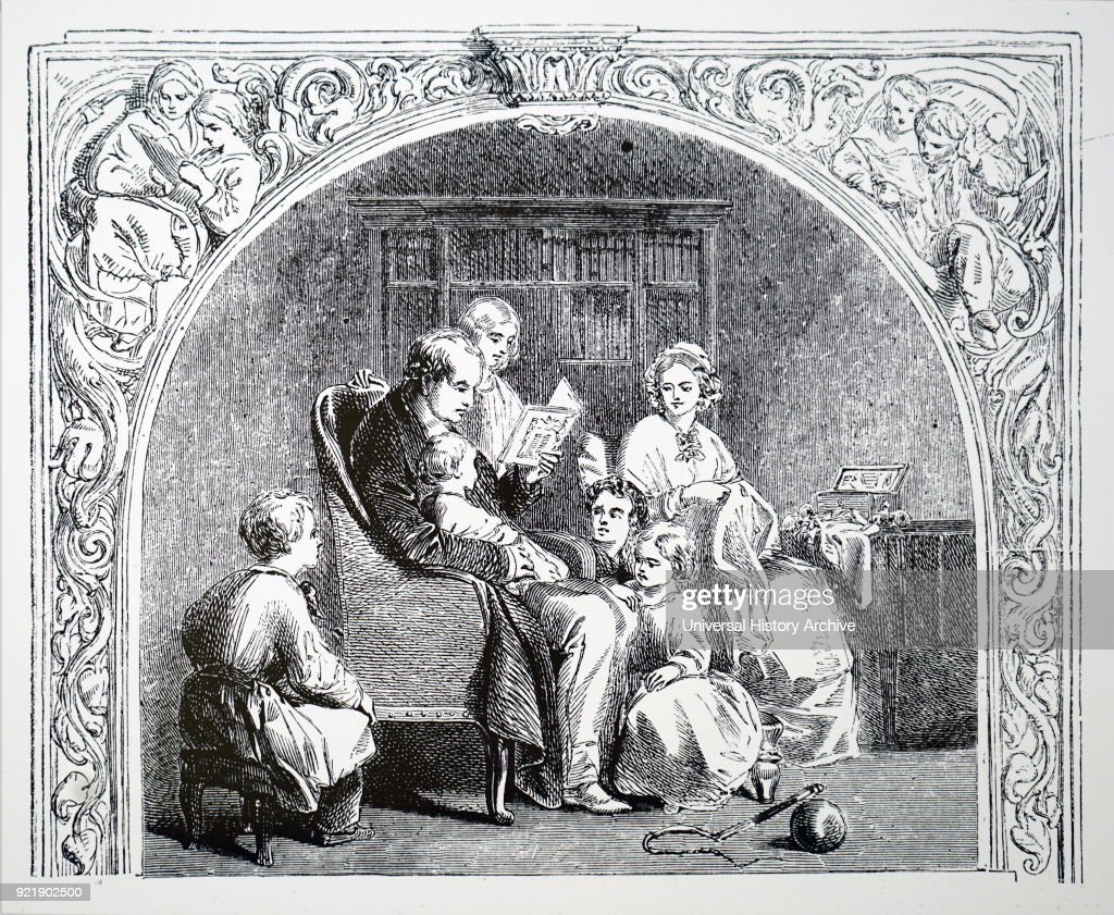 Illustration depicting a father reading to his family. Dated 19th century.