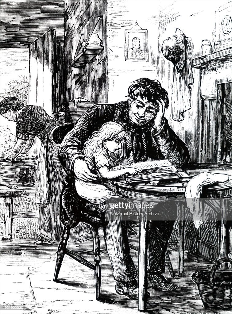 Illustration depicting a father teaching his daughter to read from the family Bible, which was probably the only book in the house. Dated 19th century.
