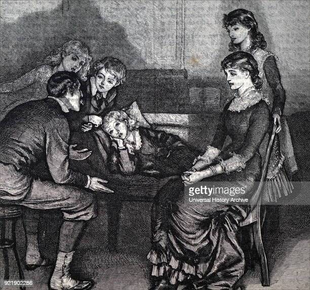 Illustration depicting a father telling his children a story before they head to bed Dated 19th century