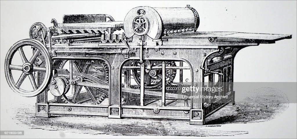A flat-bed printing machine. : News Photo