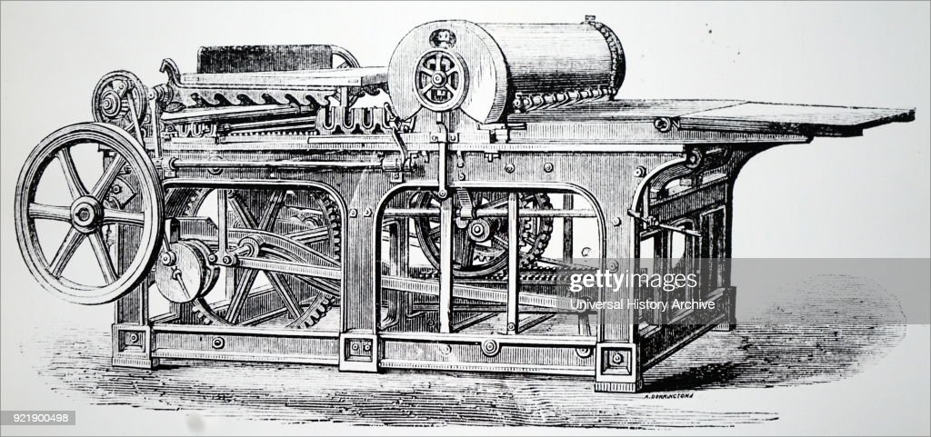 Illustration depicting a flat-bed printing machine without extraneous cogs and levers. Dated 19th century.