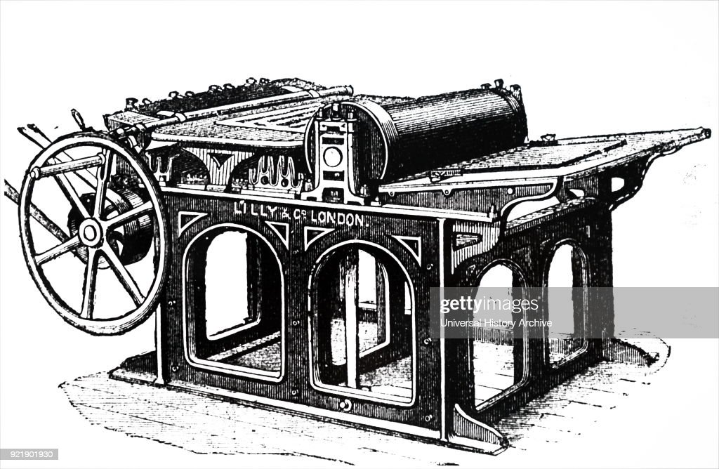 A flat-bed printing machine. : News Photo