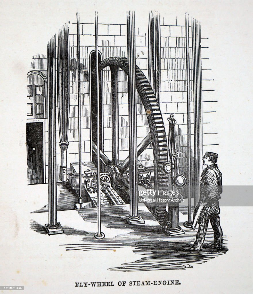 Illustration depicting a fly-wheel and governor of steam engine. Dated 19th century.