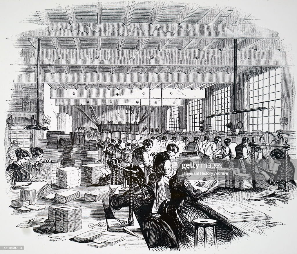 Illustration depicting a general view of a bindery. In the foreground a woman is sewing signatures in a sewing press. Dated 19th century.