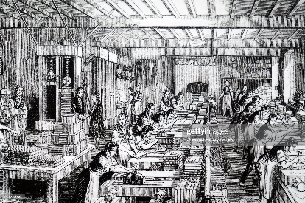 Illustration depicting a general view of a bindery, showing ploughing, gluing, rounding backs, pressing, etc. Dated 19th century.