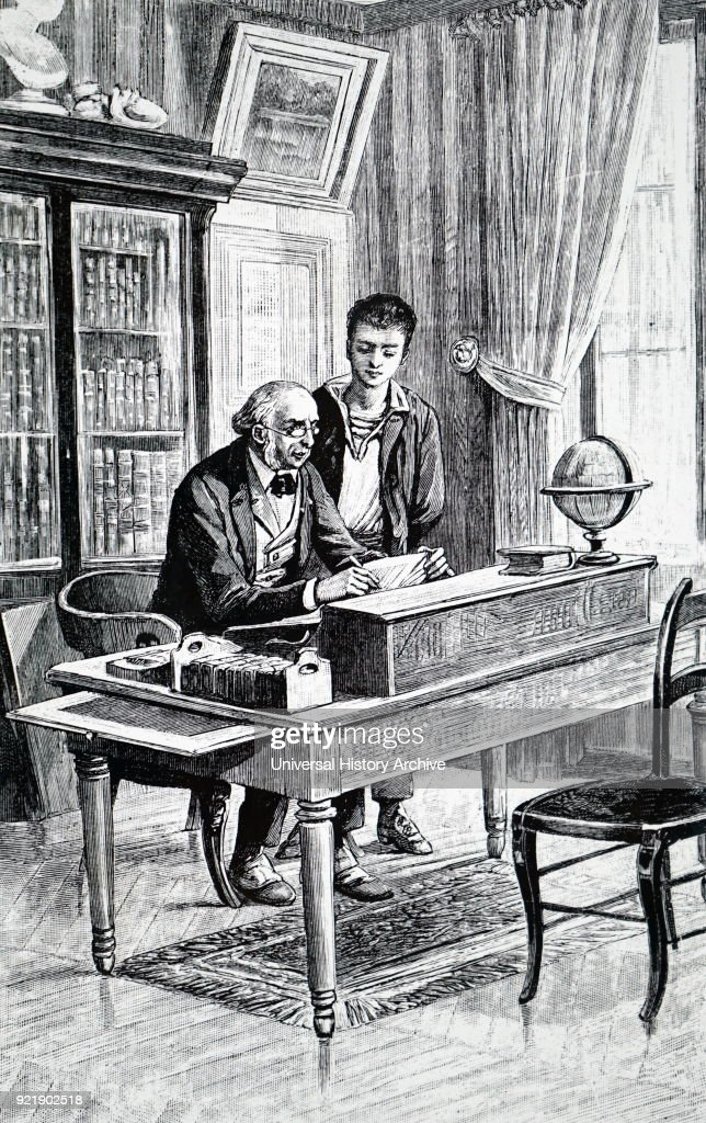 Illustration depicting a gentleman at his desk. On his right is an expanding bookcase. Dated 19th century.