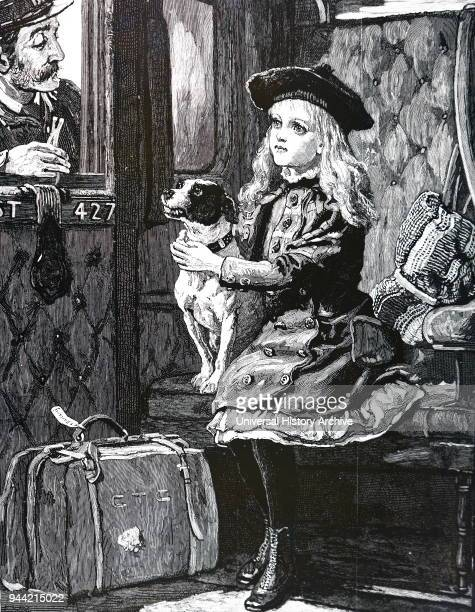 Illustration depicting a girl and her dog in a railway carriage ticket collector asking for her dog's ticket Dated 19th century