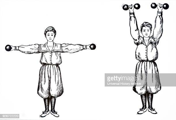 Illustration depicting a girl doing dumbbell exercises. A dumbbell is a type of free weight which is used in weight training. Dated 20th century.
