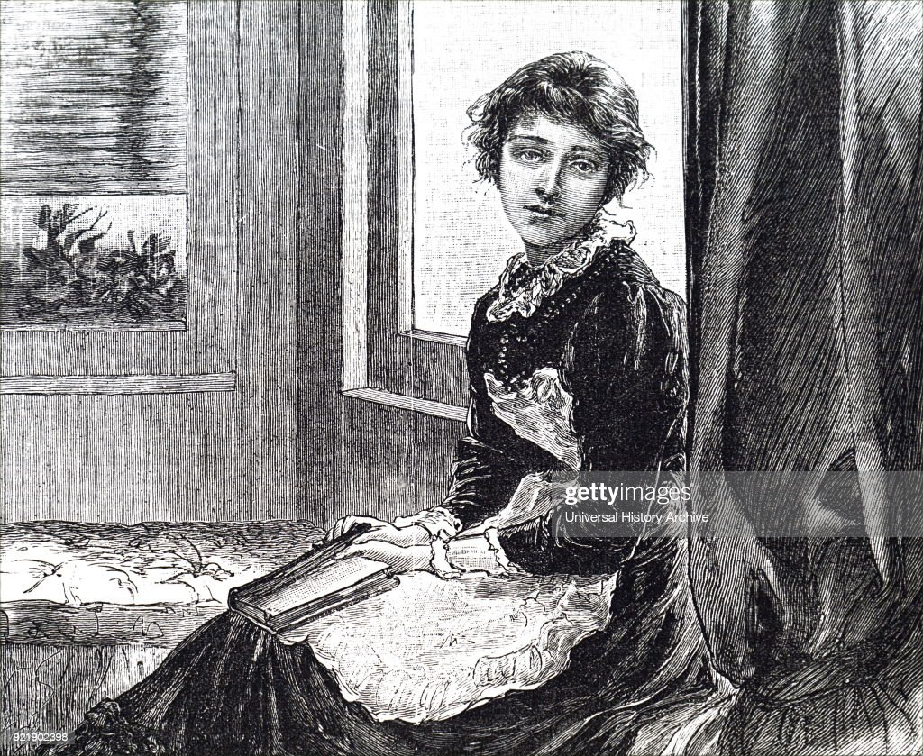Illustration depicting a girl holding a book. Dated 19th century.