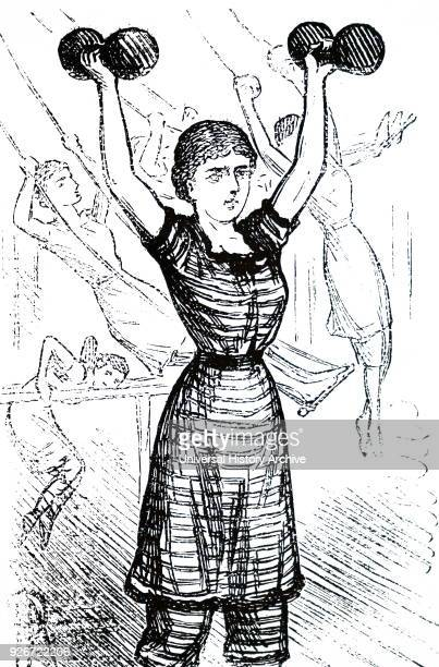 Illustration depicting a girl lifting weights during a physical education class. Dated 19th century.