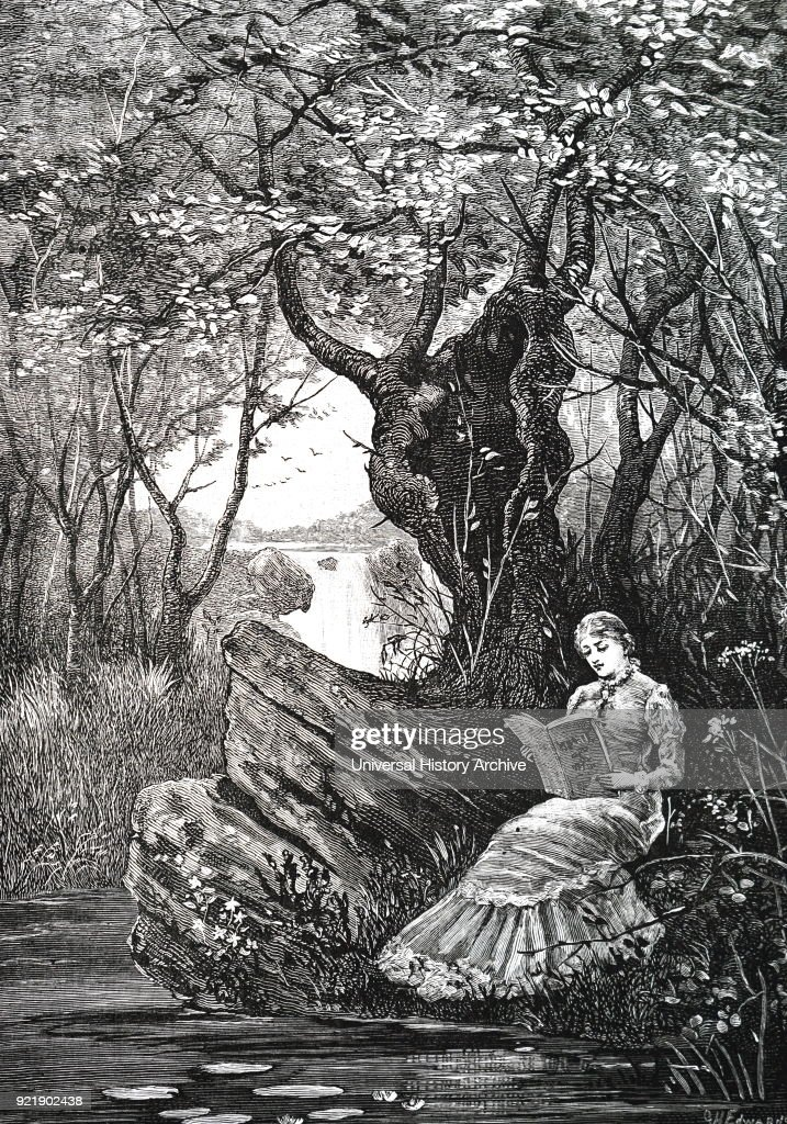 Illustration depicting a girl reading a book beside a stream. Dated 19th century.