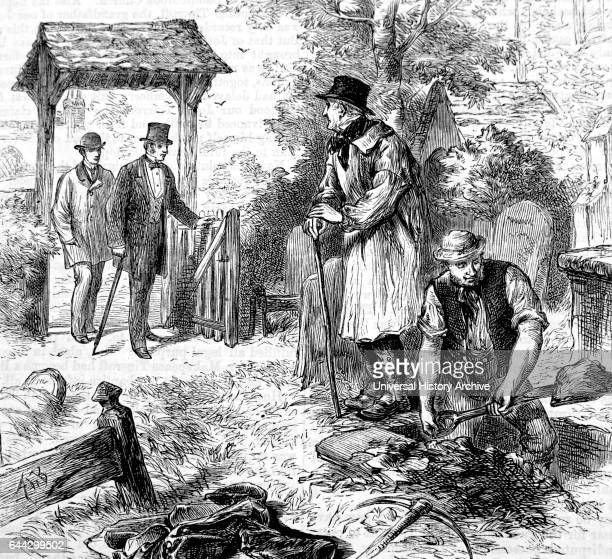 Illustration depicting a gravedigger at work Dated 19th Century