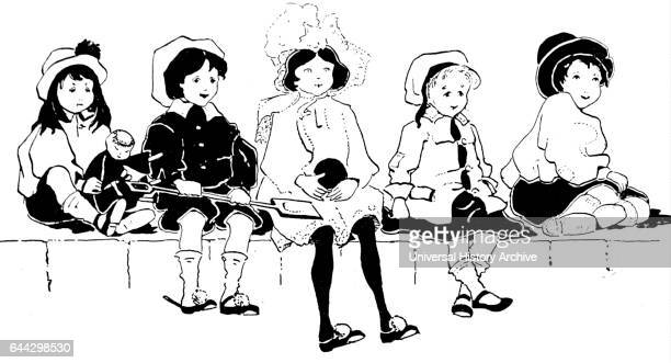Illustration depicting a group of young girls sitting on a ledge Dated 20th Century