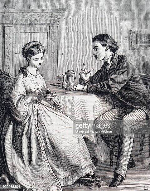 Illustration depicting a husband and wife in discussion over breakfast Illustrated by Edward Robert Hughes an English painter and illustrator Dated...