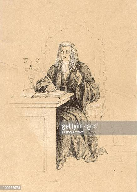 Illustration depicting a judge dressed in robes and a wig while writing at a desk using a quill circa 1850