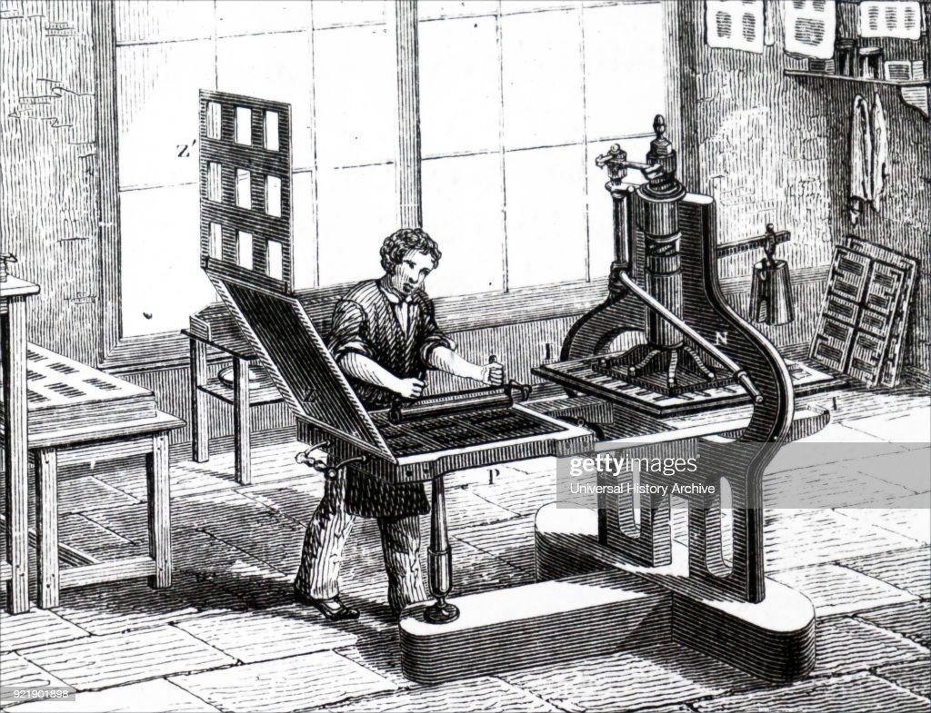 A 'Liberty' plate printing press. : News Photo