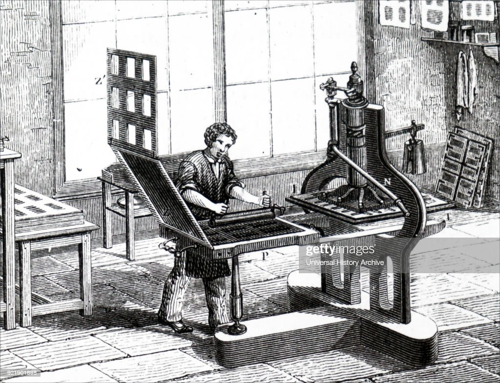 Illustration depicting a 'Liberty' plate printing press, much used by jobbing printers. Dated 19th century.