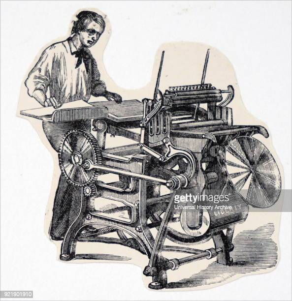 Illustration depicting a 'Liberty' plate printing press much used by jobbing printers Dated 19th century