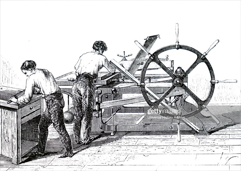 Illustration depicting a lithographic press. Johann Alois Senefelder (1771-1834) a German actor and playwright who invented the printing technique of lithography. Dated 19th century.